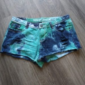 Tie Dyed Jean Shorts - Women's (Juniors) 11